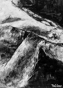 Gemälde eines sitzenden männlichen Modells in Schwarz-Weiß.