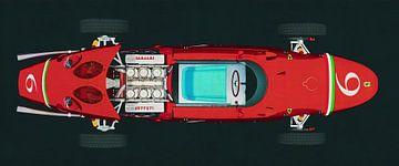 Ferrari 156 Haaienneus 1961 topaanzicht motor open