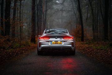 BMW M8 Competition Gran Coupé in het bos van Jarno Lammers