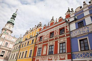 Zamosc stad in Polen, gekleurde huizen in het centrum van Eric van Nieuwland