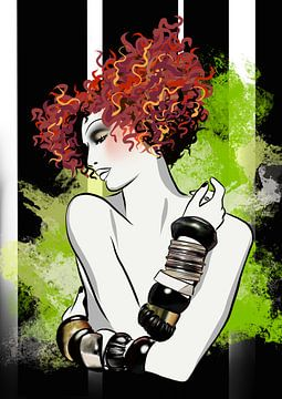 Schmuck Modeillustration - Giftgrün von Janin F. Fashionillustrations