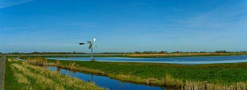Waterrijk panorama met authentieke windmolen in de Eilandspolder