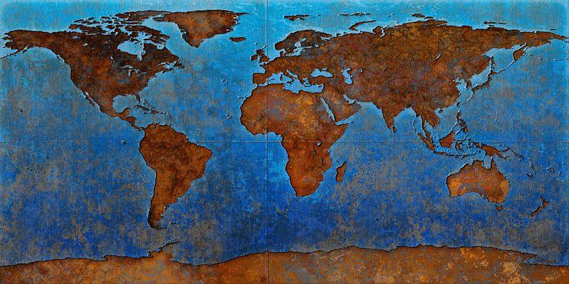 Wereldkaart roest van Frans Blok