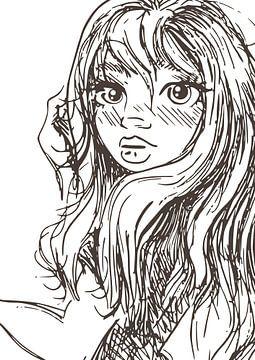 Porträt einer jungen Dame - aus einer Serie von 3 - Tuschezeichnung von Emiel de Lange