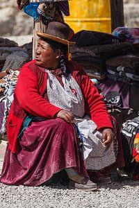Indiaanse markthandel langs de weg in Peru bij Arequipa