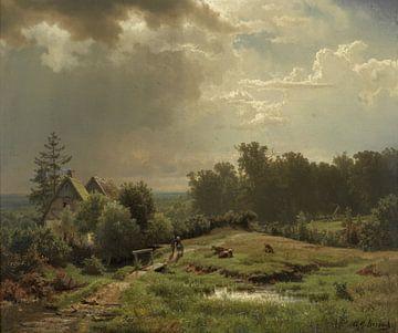Heuvelachtig landschap met bewolkte lucht, Andreas Achenbach sur