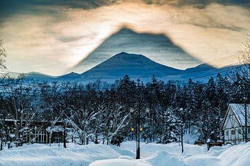 Uniek lichtfenomeen in Hokkaido, Japan van