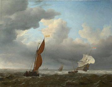Een Nederlands schip en andere kleine schepen in een sterke wind, Willem van de Velde