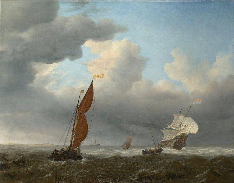 Ein niederländisches Schiff und andere kleine Schiffe in einer starken Brise, Willem van de Velde von Meesterlijcke Meesters