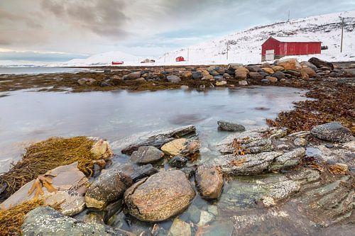 Huizen aan Noorse kust van