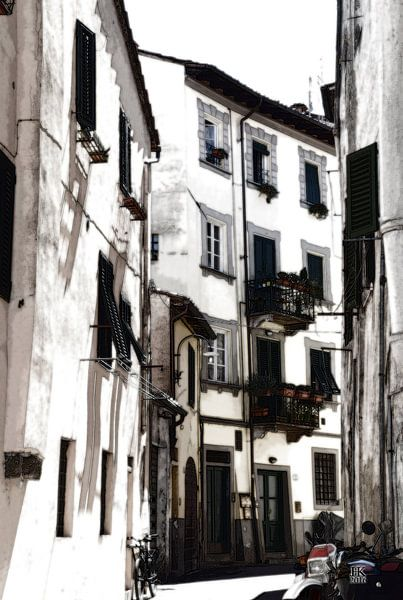 Lucca Italië straatbeeld in de zomer van Hendrik-Jan Kornelis