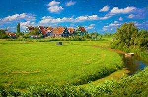 Landschap met huisjes op Marken, Nederland