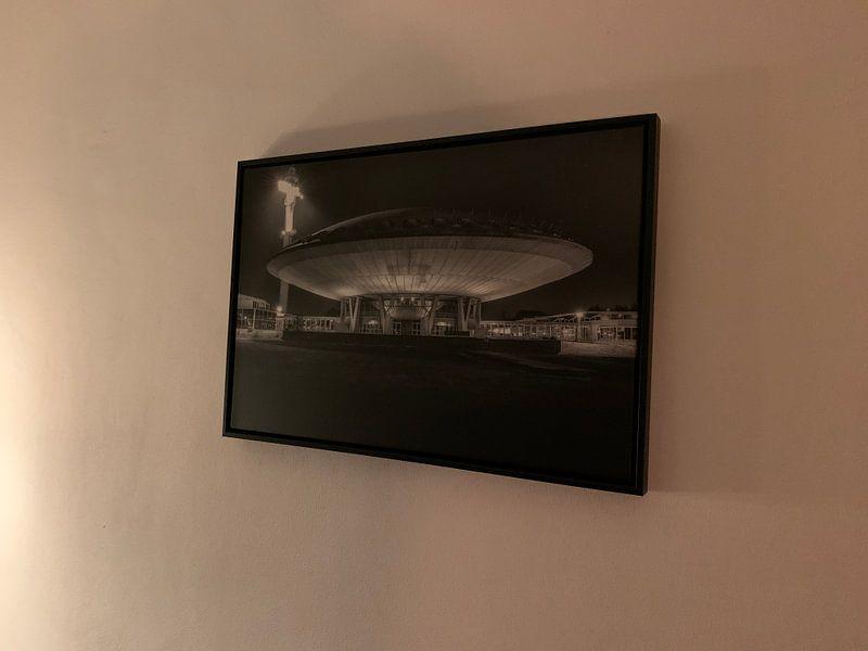 Klantfoto: Evoluon in Eindhoven - zwart wit van Photography by Karim, op canvas