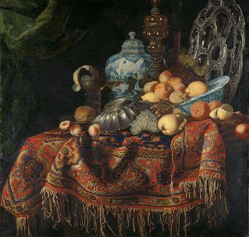 Stilleven met vruchten en vaatwerk op een Smyrna kleed, Francesco Fieravino van Meesterlijcke Meesters