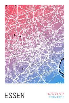 Essen – City Map Design Stadtplan Karte (Farbverlauf) von ViaMapia