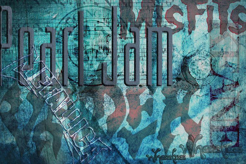Muziek groepen, typografische collage van Rietje Bulthuis
