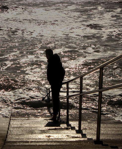 Man bij zee van MSP Canvas