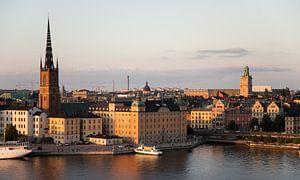 sonnenuntergang in der stadt stockholm