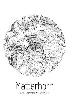 Matterhorn | Landkarte Topografie (Minimal) von ViaMapia