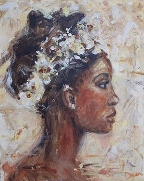 African woman flower van Mieke Daenen