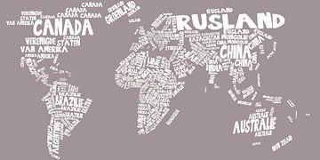 Weltkarte Typografie 2 von Stef Van Campen