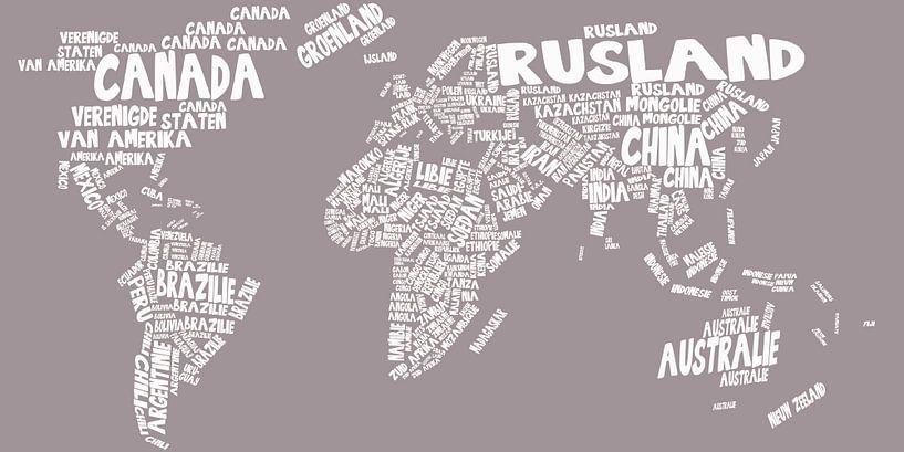 Wereldkaart typography van Stef Van Campen