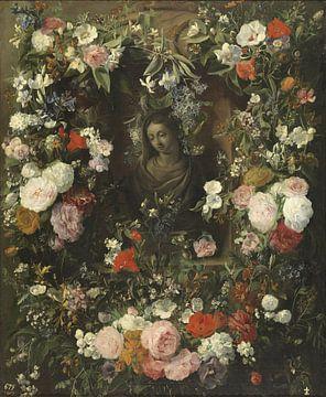 Blumenkartusche mit Marienstatue, Nicolaes van Verendael von Meesterlijcke Meesters