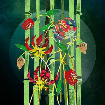 Gloriosa und Bambus in Chips von Ruud van Koningsbrugge