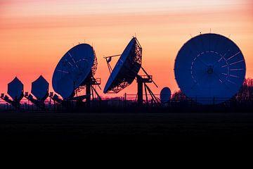 Zonsondergang achter de grote oren in de weilanden bij Burum