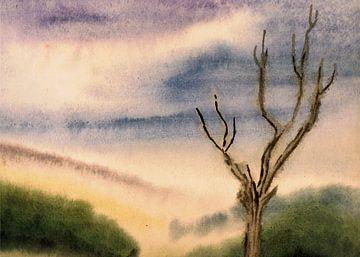 Wazig landschap met boom - aquarel geschilderd door VK (Veit Kessler)