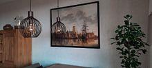 Klantfoto: Gezicht op Dordrecht bij zonsondergang, Aelbert Cuyp, op canvas