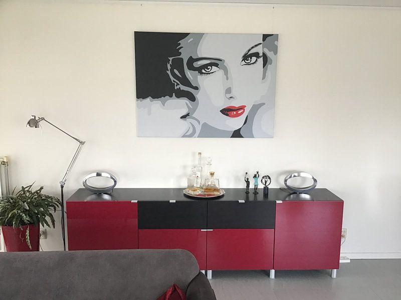Klantfoto: Lady with red lips popart van anja verbruggen