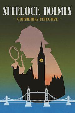Sherlock Holmes - Vintage-Poster mit London von Roger VDB