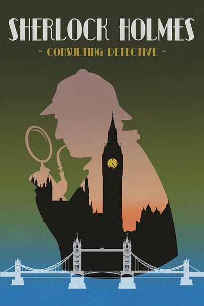Sherlock Holmes - poster vintage avec Londres sur Roger VDB