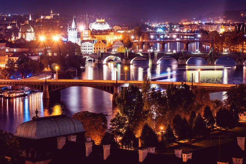 Prag bei Nacht von Atelier Liesjes