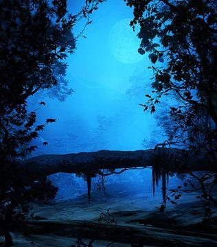 Blauwe omgeving van Angel Estevez
