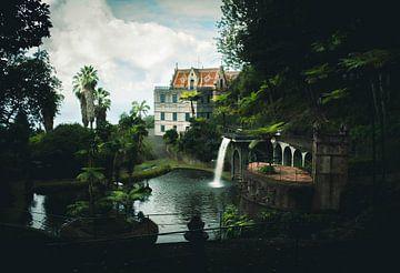 Schloss und Wasserfall im botanischen Garten in Funchal von jonathan Le Blanc
