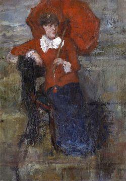James Ensor. Dame met rode parasol