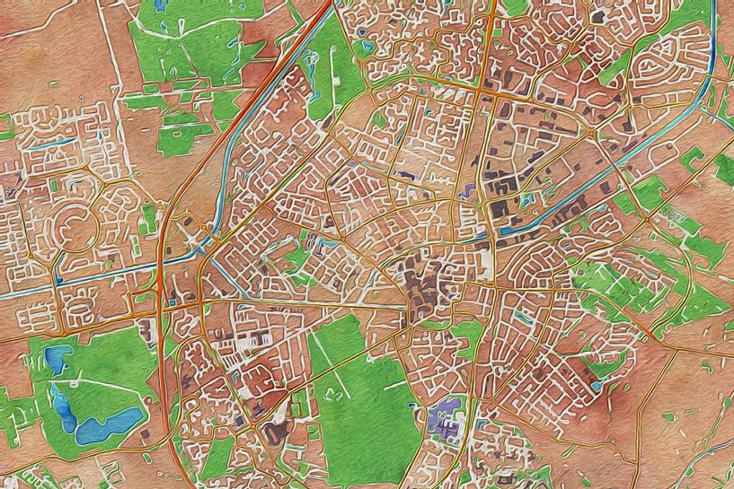 Olieverf kaart van Assen van Stef Verdonk