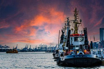 Sleepboot in de haven van Hamburg bij schemering van Dieter Walther