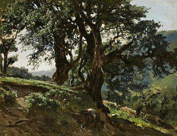 Carlos de Haes-Oude-Eiche am Hang, Antike Landschaft