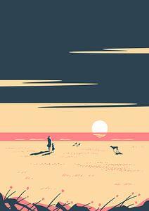 De Zonsondergang Roze van Rene Hamann