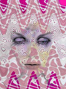 Le visage avec les vagues roses sur Gabi Hampe