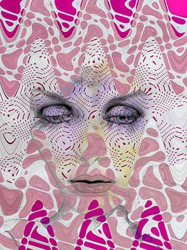 The face with the pink waves von Gabi Hampe