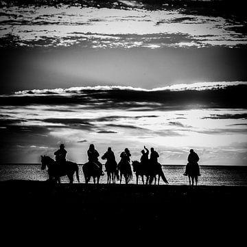 Paarden op het strand van Iacopo Giannini