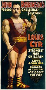 Amerikaanse oude poster over de sterkste man ter wereld uit 1898