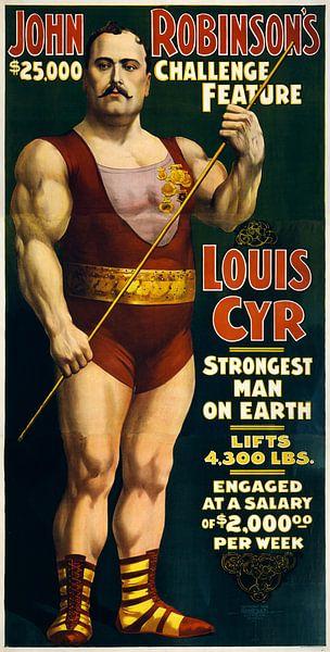 Amerikaanse oude poster over de sterkste man ter wereld uit 1898 van Natasja Tollenaar