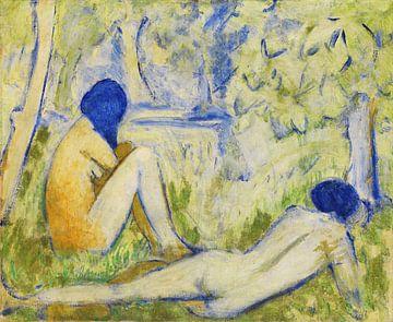Twee meisjes op de bosweide - Twee keer naakt op de bosweide - In het gras, OTTO MUELLER, rond 1910 van Atelier Liesjes