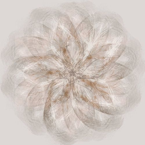 Mandala, spirograaf met bruintinten van Rietje Bulthuis
