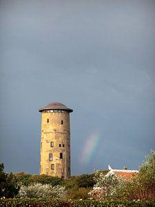 Watertoren van Domburg met regenboog van